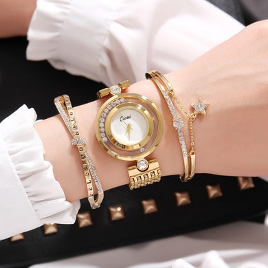Elegant Crystal Star Steel Bracelet Watch Set