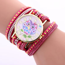 Load image into Gallery viewer, Fashion Owl Pattern Leather Rhinestone Band Watch