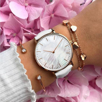 Genuine Leather White Band Seashell Dial Bracelet Watch Set