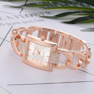 Women's Rhinestone Quartz Bracelet Link Watch