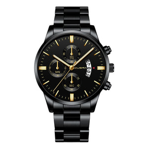 CUENA Military Stainless Steel Sport Chronograph Watch