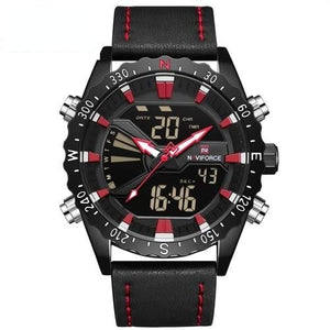 "NAVIFORCE Men's ""Biker Lion"" Leather Outdoor Waterproof Military Watch"