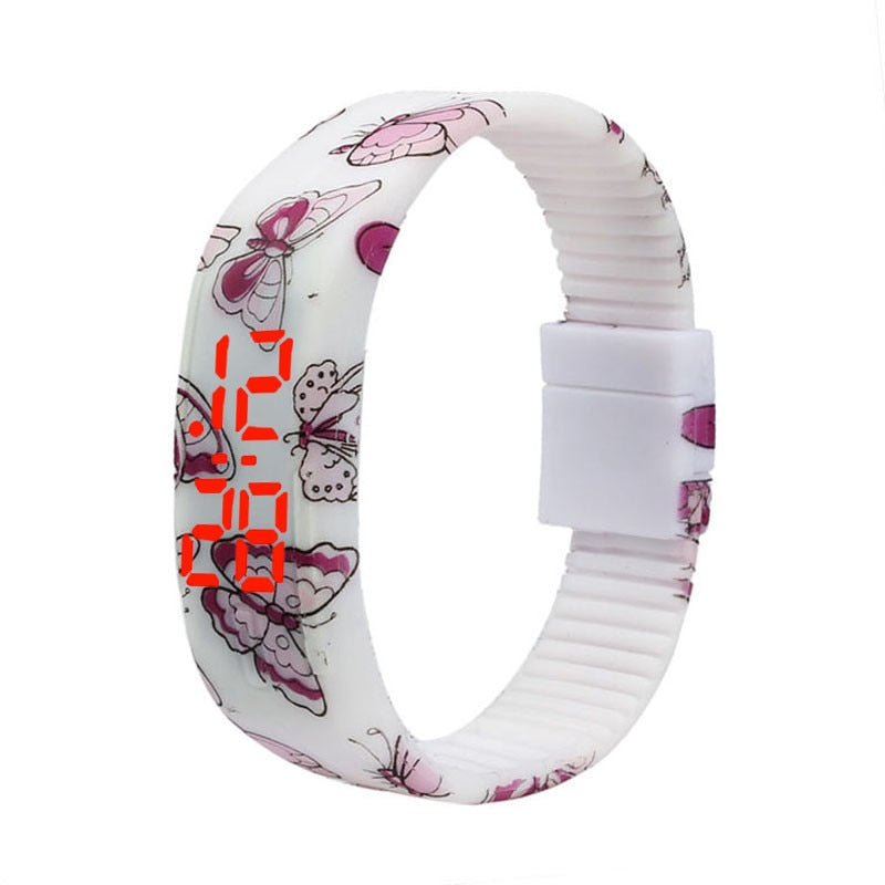 Butterfly Girl Sports Silicone Digital LED Watch