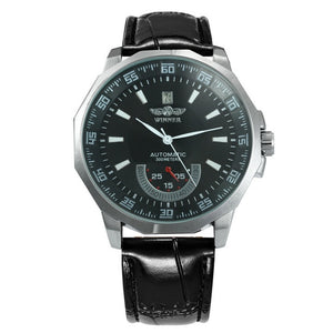 Men's Auto Mechanical Working Sub-Dial Leather Strap Watch