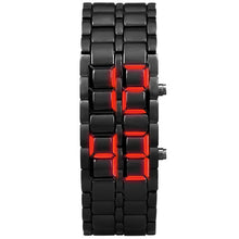 "Load image into Gallery viewer, Men's Iron Samurai Metal Bracelet ""RED LAVA"" LED Digital Watch"