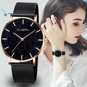 Ladies Watch Mesh Band Stainless Steel Crystal Face