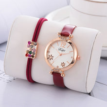 Load image into Gallery viewer, Women's Dress Flower Dial Bracelet Watch Set