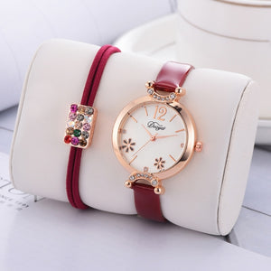 Women's Dress Flower Dial Bracelet Watch Set