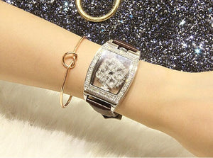 "Diamondesque ""Lux"" Leather Strap Watch"
