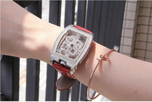 "Load image into Gallery viewer, Diamondesque ""Lux"" Leather Strap Watch"
