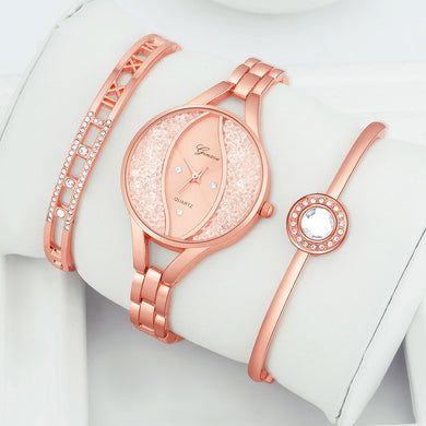 Elegant Women's Moon & Stars Crystal Bracelet Watch Set