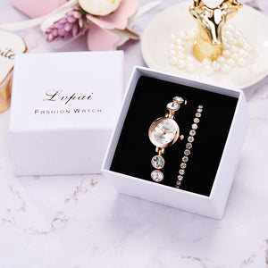 Clio Rhinestone Steel Bracelet Watch Set