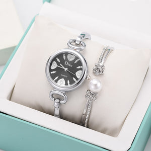 Pearl of Hearts Steel Bracelet Watch Set