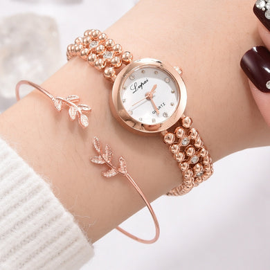 Luxury Crystal Beaded Chain & Leaves Watch Set