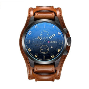 Curren Men's Leather Military Sports Strap Watch