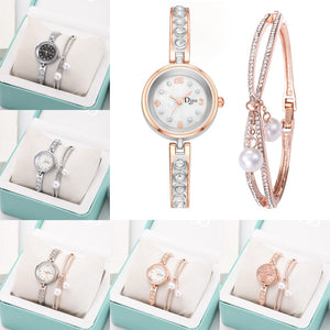 Women's Slim Band Pearl Bracelet Watch Set