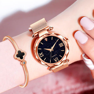 Women's Starry Sky Mesh Band Bracelet Watch Set