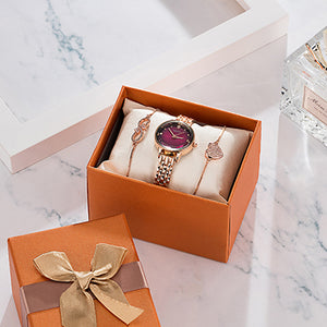 "Women's Steel ""Opulence"" Bracelet Watch Set"