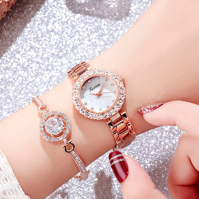 Starlite Rhinestone Horseshoe Bracelet Watch Set