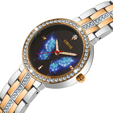Stryve Prussian Blue Butterfly Crystal Bracelet Watch Set