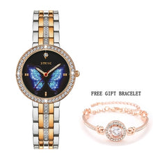 Load image into Gallery viewer, Stryve Prussian Blue Butterfly Crystal Bracelet Watch Set