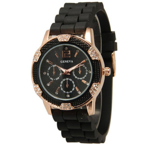 Women's Rose Gold Crystal Rhinestone Bezel Chronograph Silicone Band Watch
