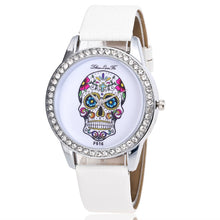 Load image into Gallery viewer, Women's Rhinestone Bezel Skeleton Leather Band Watch