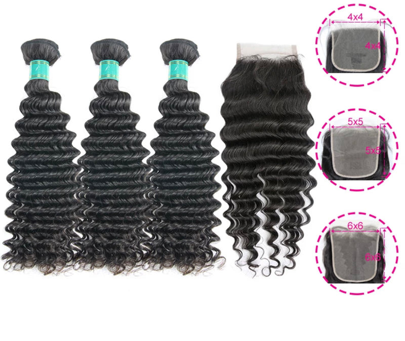 Deep Wave - 3 Piece Bundles & Closure - Alcoholic Hair
