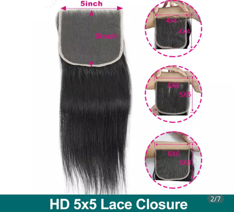 Straight - Indv.  HD Lace Closure - Alcoholic Hair