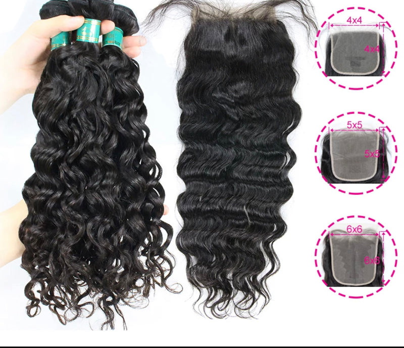 Water Wave - 3 Piece Bundles & Closure - Alcoholic Hair