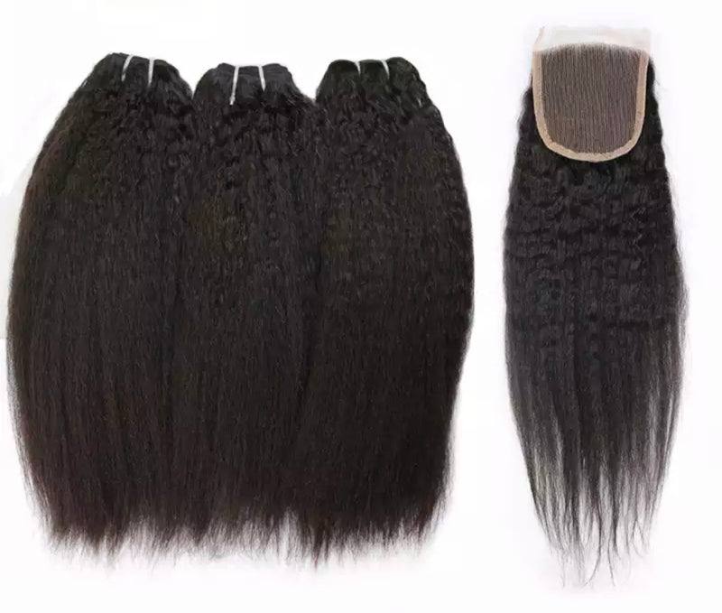 Kinky Straight- 3 Piece Bundles & Closure - Alcoholic Hair