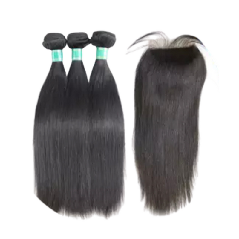 Straight - 3 Piece Bundles & Closure - Alcoholic Hair
