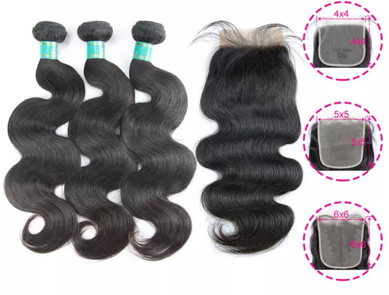 Body Wave - 3 Piece Bundles & Closure - Alcoholic Hair