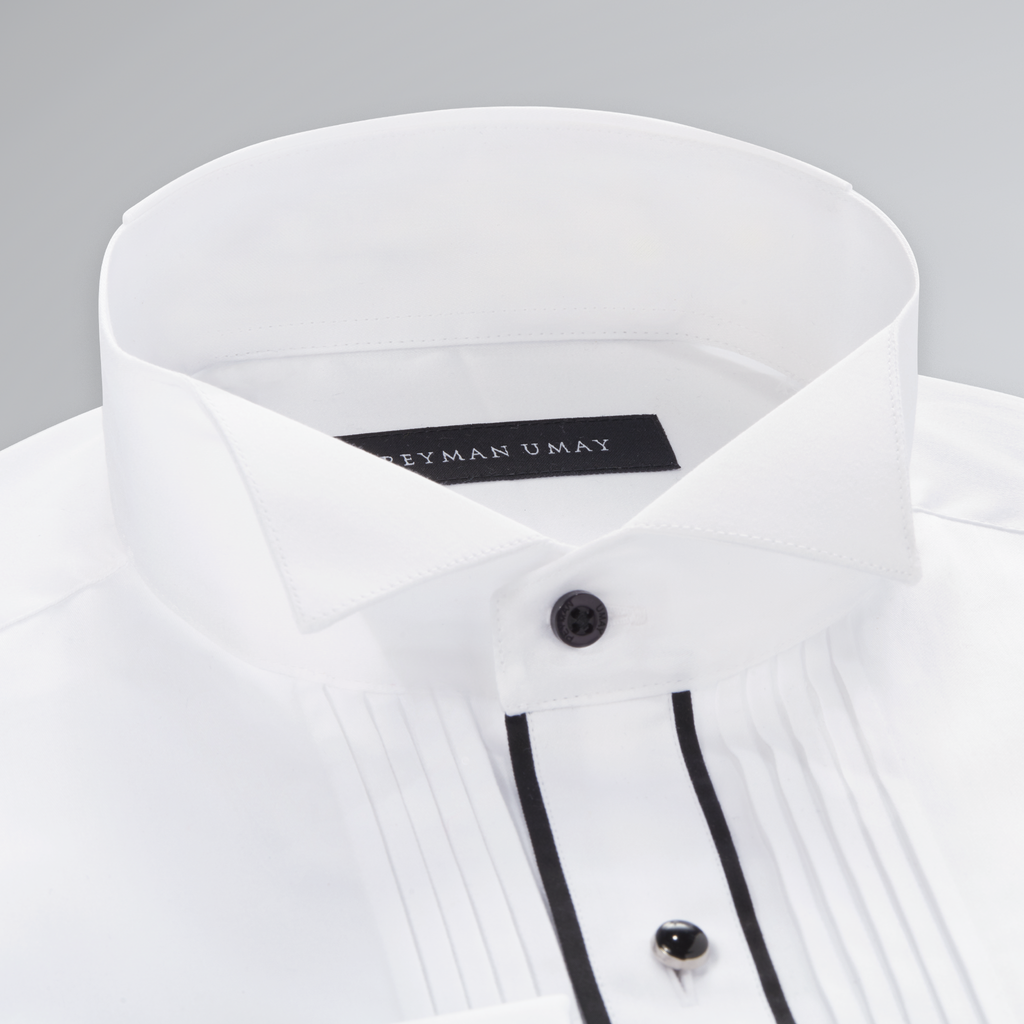 White Black Pleated Tuxedo Shirt