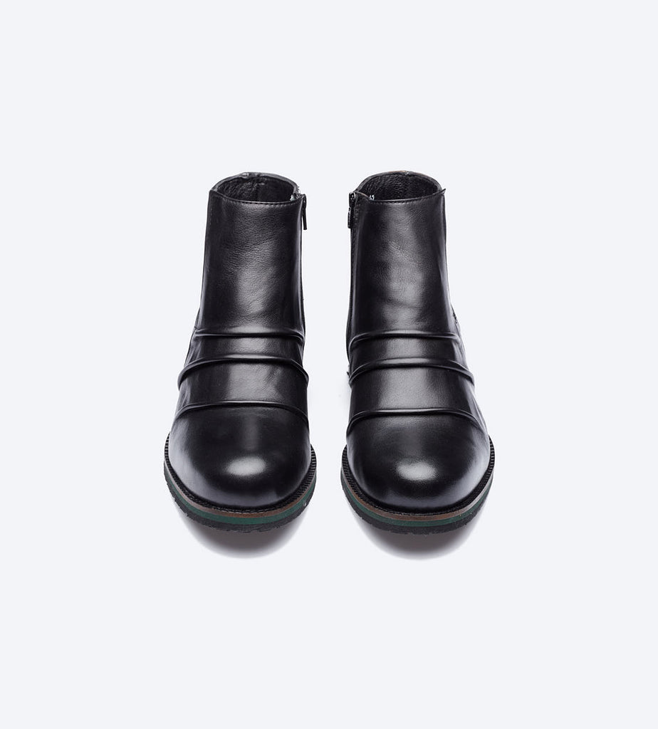 Black Pleated Leather Boots