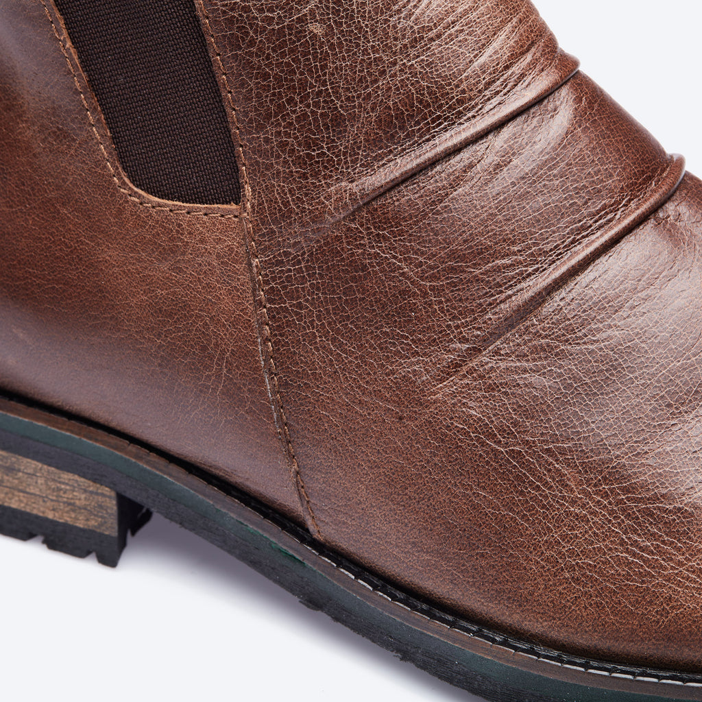 Tobacco Pleated Leather Boots