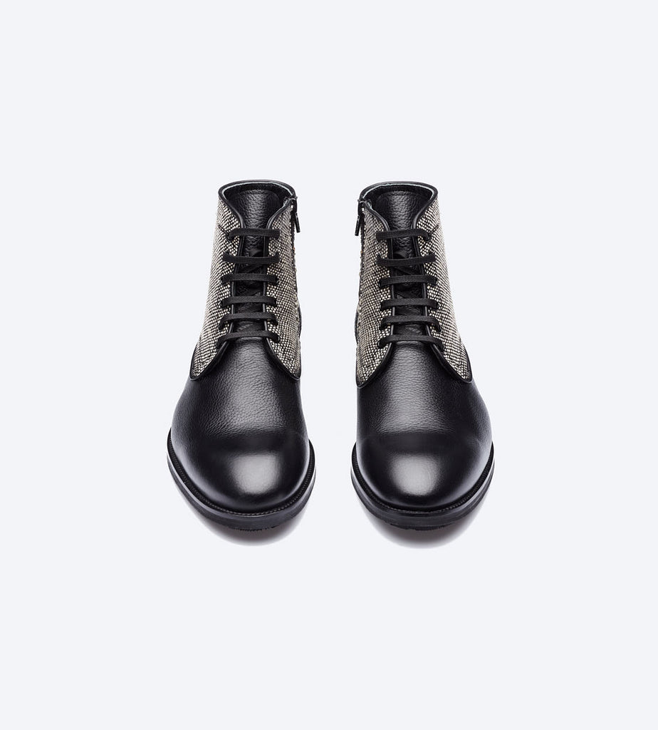 Black Leather Twill Boots