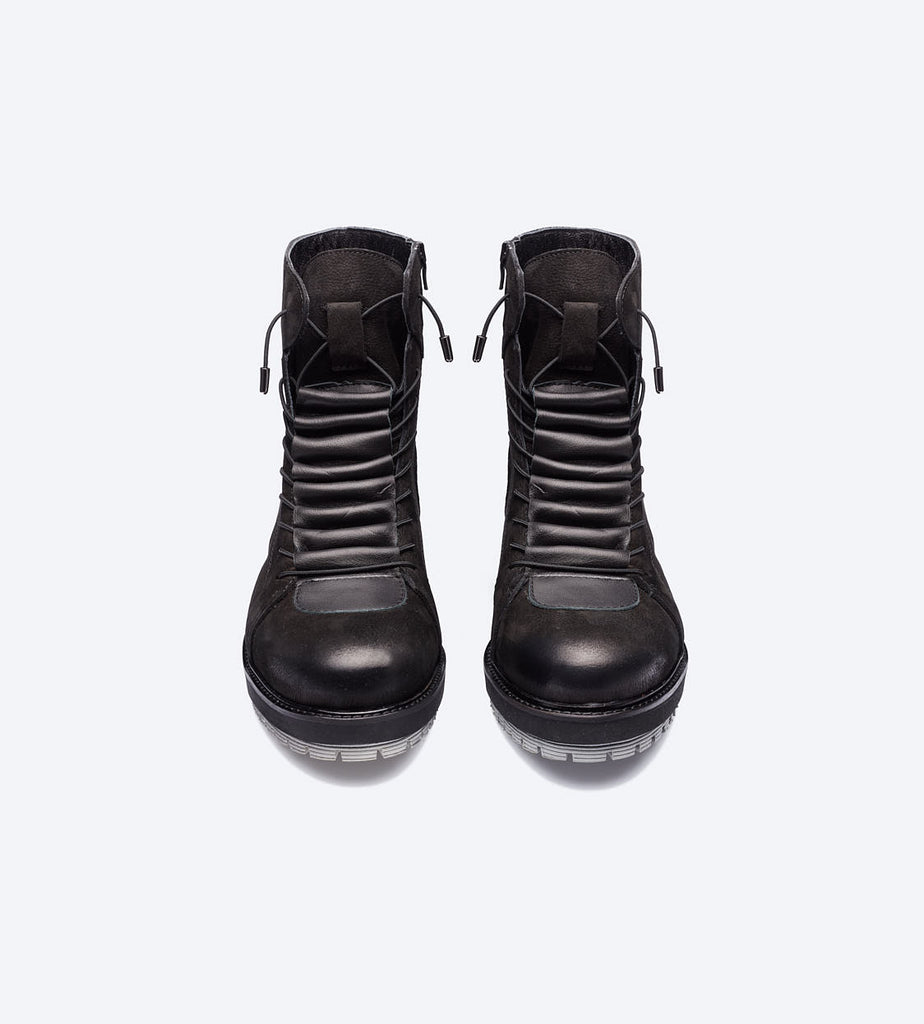 Black Lace-Up Roofer Boots