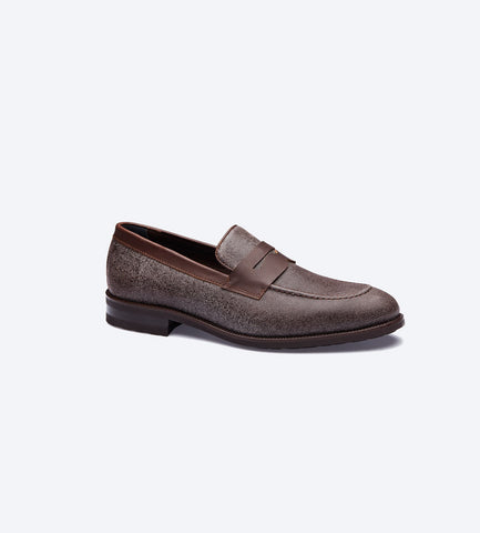 Brown Twill Loafer Shoes