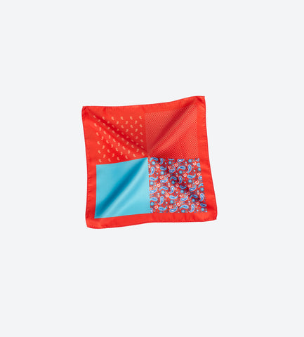 Red-Teal Paisley Pocket Square