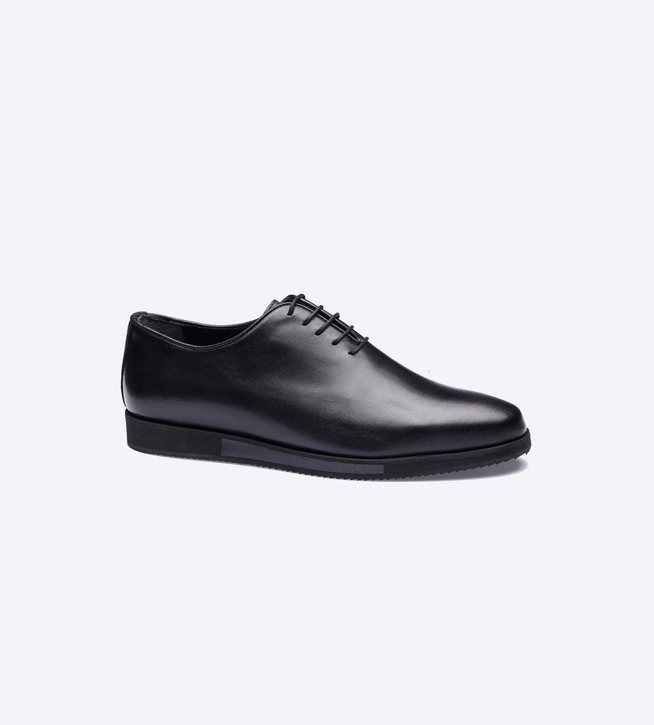 Black Balmoral Plain Toe Shoes