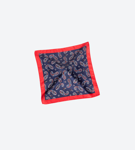 Red-Blue Paisley Pocket Square