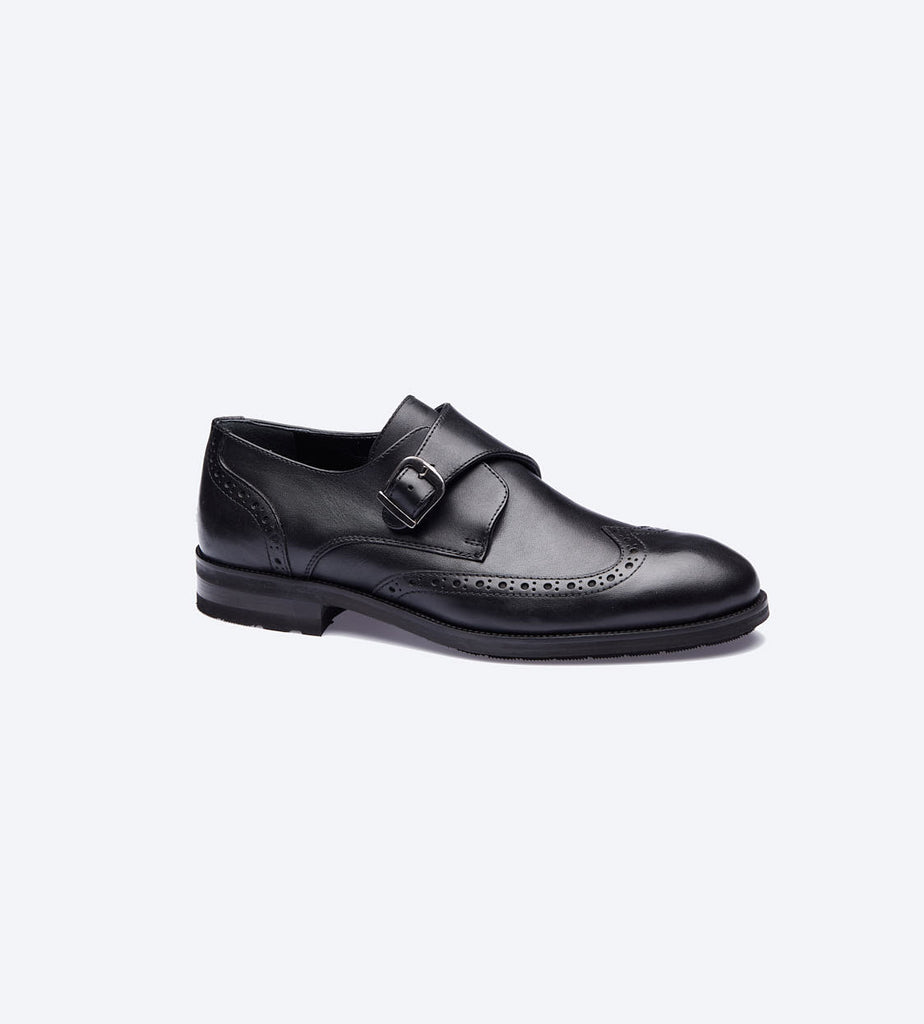 Black Monk Strap Oxford Shoes