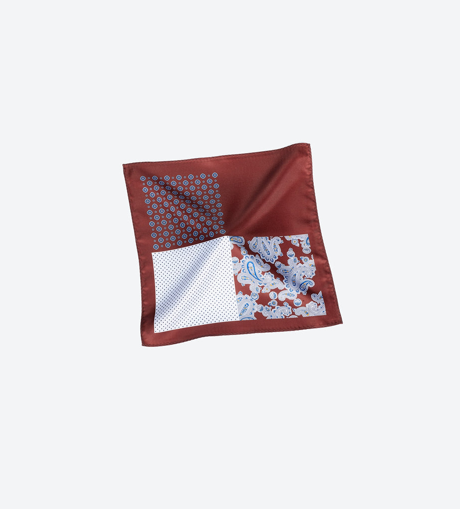 Copper-White Paisley Pocket Square