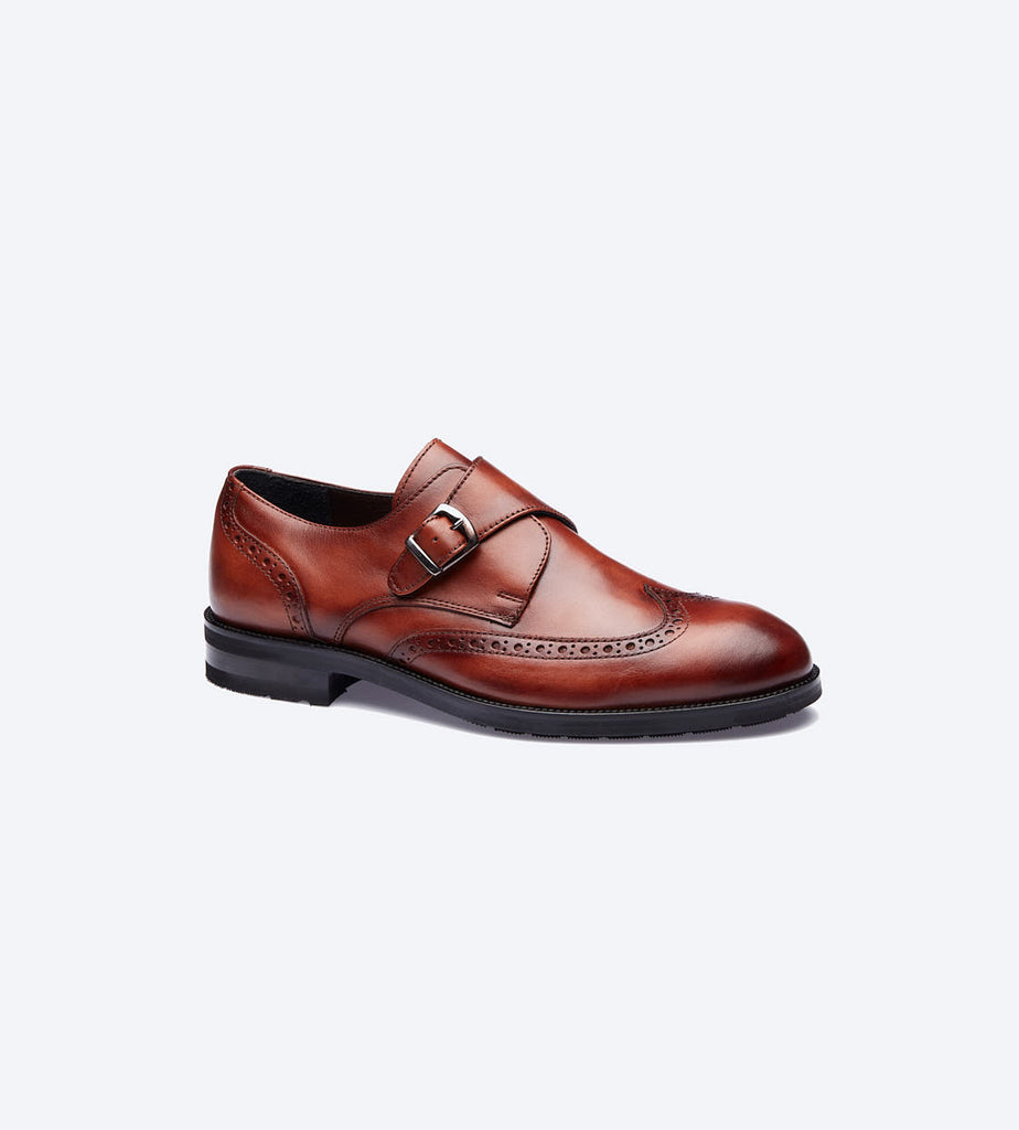 Tobacco Monk Strap Oxford Shoes