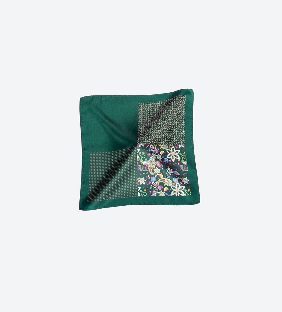 Dark Green Paisley Pocket Square