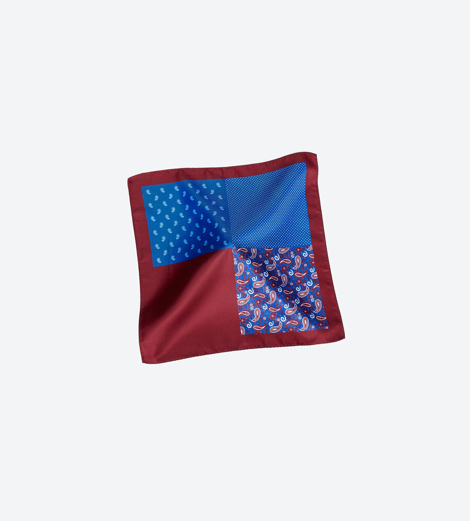 Burgundy-Blue Paisley Pocket Square