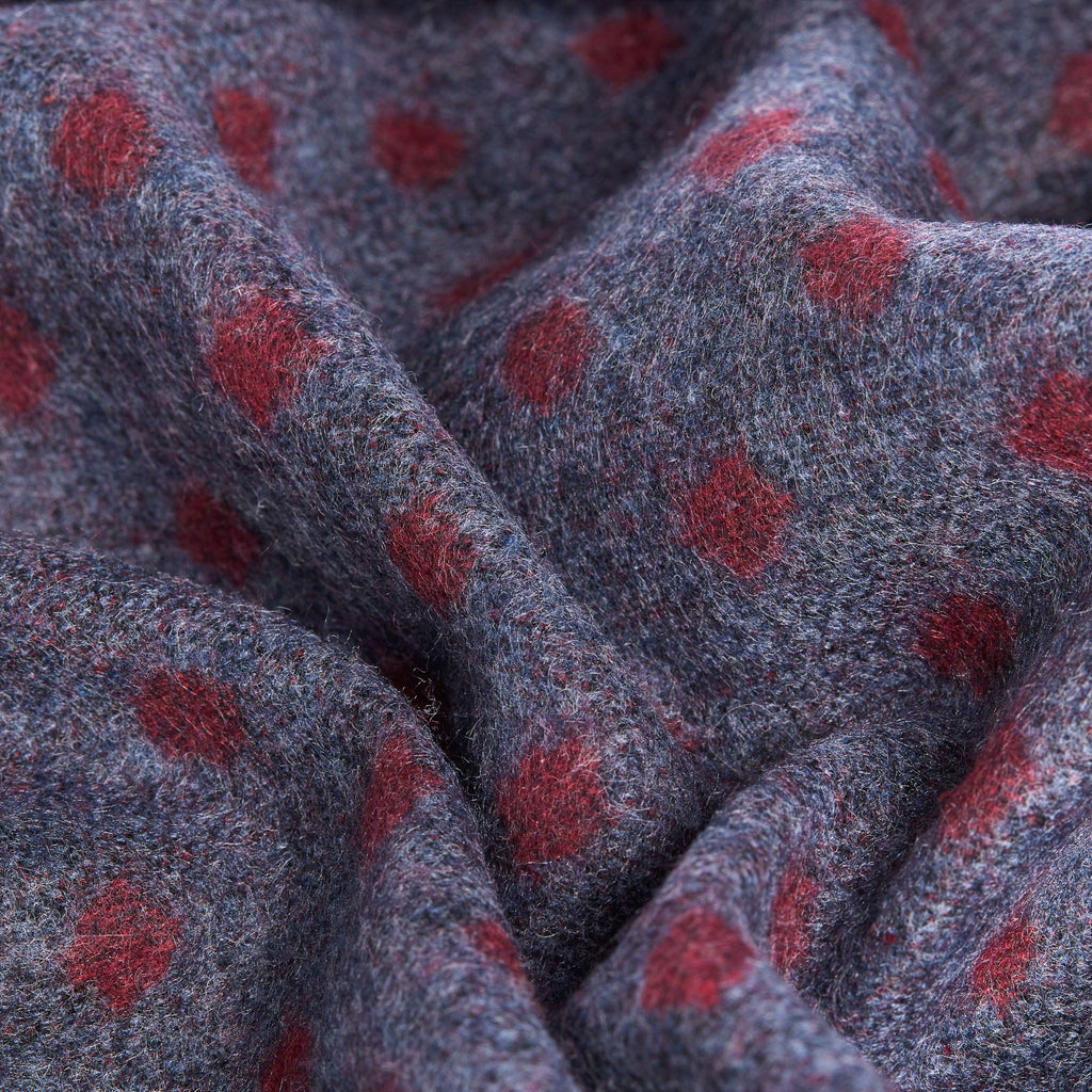 Grey Red Navy Polka Dot Scarf