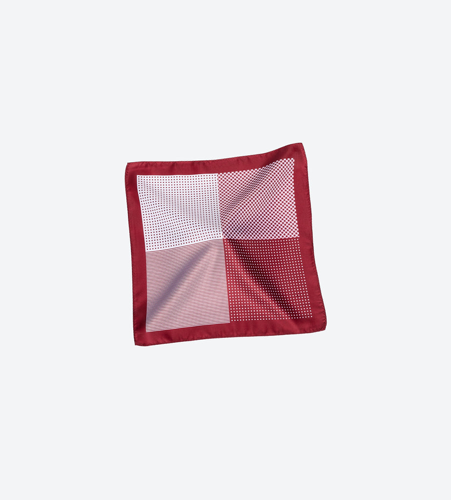 Maroon-White Dot Pocket Square