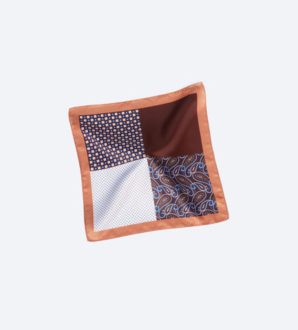 Brown-White Paisley Pocket Square
